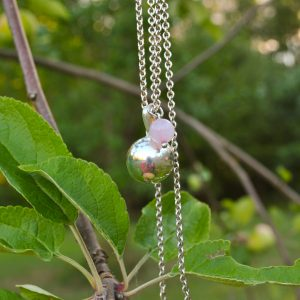 DRIP DROP PENDANT, rose quartz